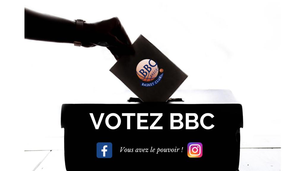 Une main en train de déposer un vote pour le Brécé Basket Club dans une urne.